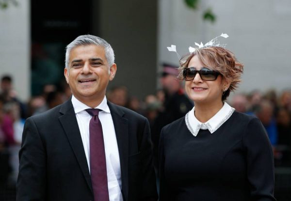 London Mayor Sadiq Khan with wife arriving at St Paul's