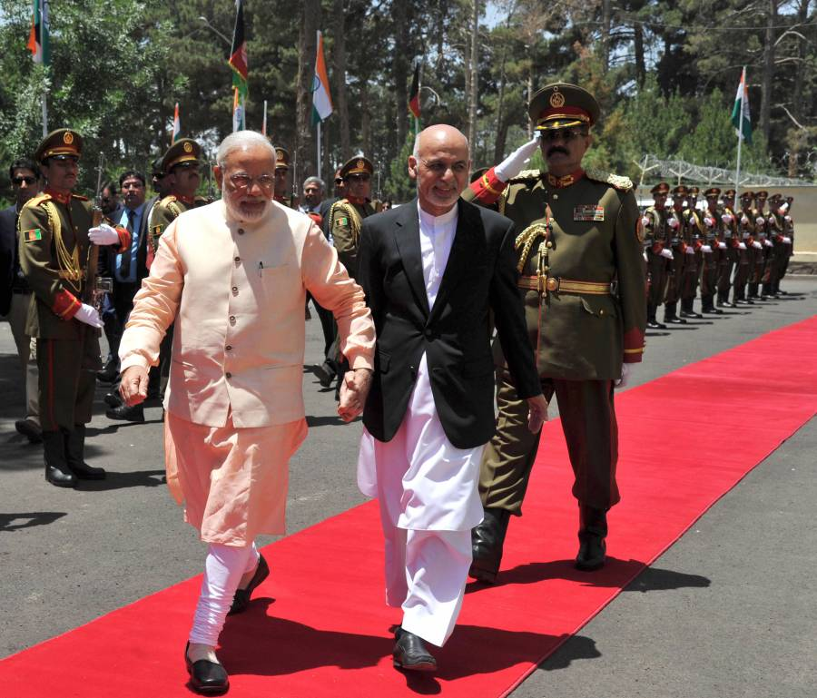 Modi being warmly received by the President of the Islamic Republic of Afghanistan, Mr. Mohammad Ashraf Ghani, in Herat, Afghanistan