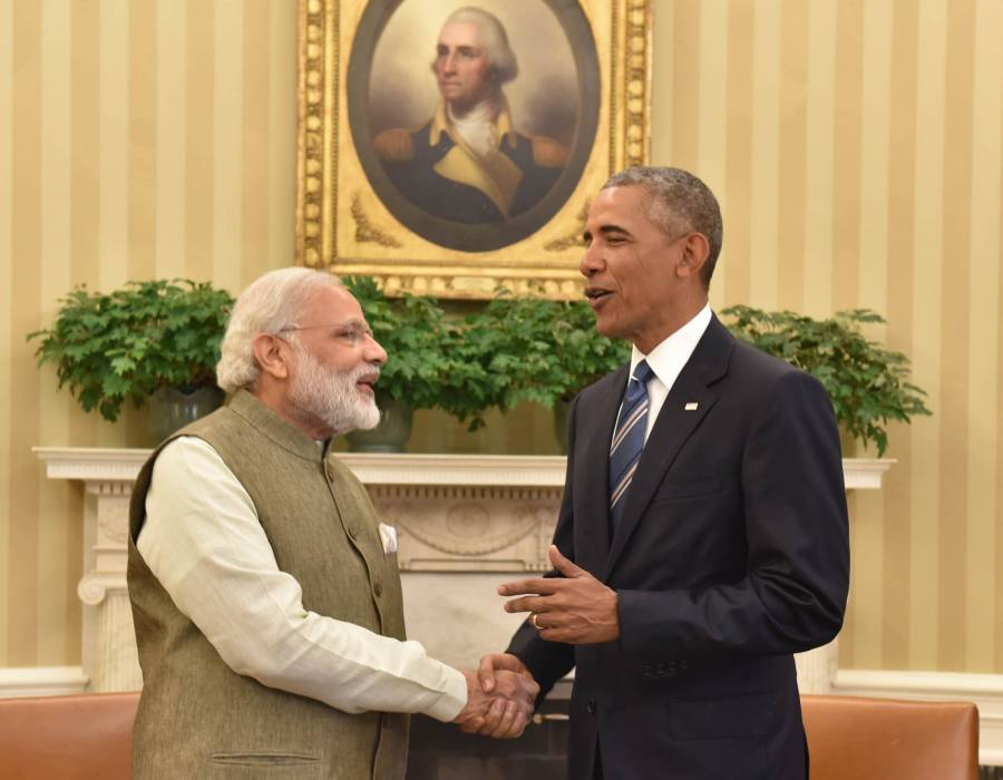 Modi meeting the President of United States of America (USA), Mr. Barack Obama in Oval Office, at White House, in Washington DC,