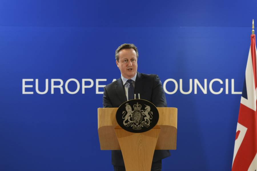 Former Prime Minister David Cameron addressing a European Council meeting at Brussels