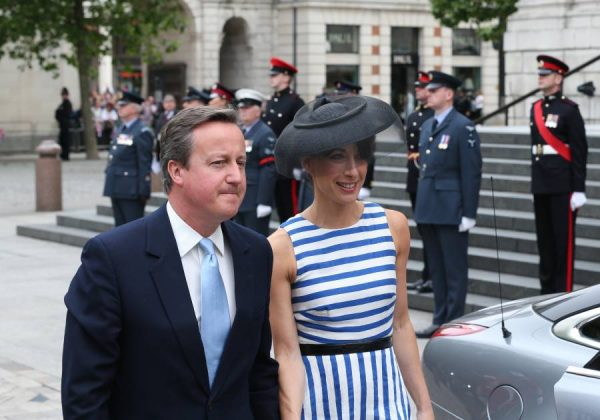Prime Minister David Cameron and Samantha Cameron arriving at St Paul's