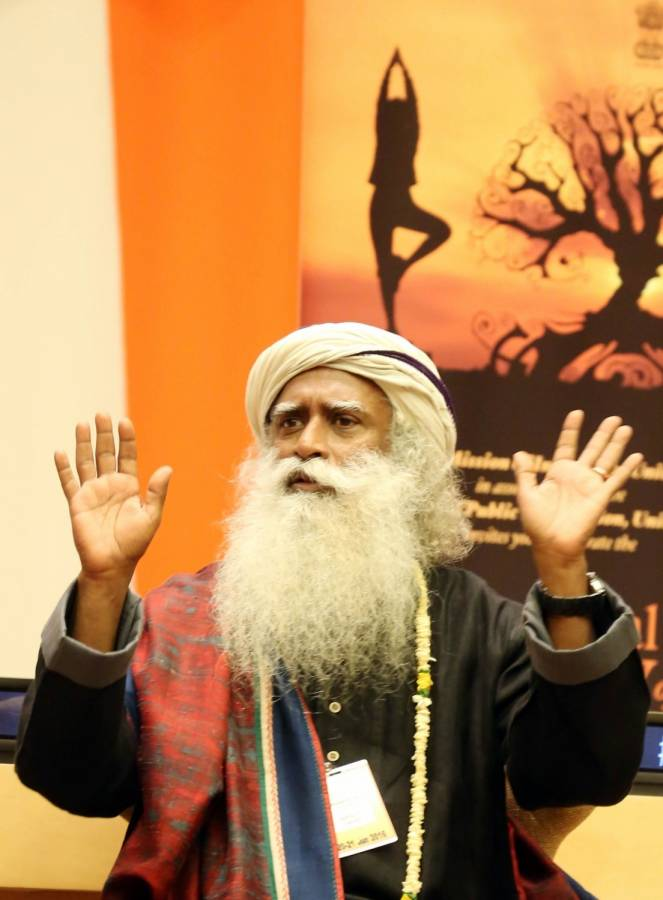 "Sadhguru Jaggi Vasudev at the United Nations during the ""Conversation with Masters: Yoga for the Achievement of Sustainable Development Goals"" program"