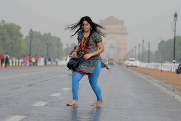 A Delhiite enjoying the rains near India Gate
