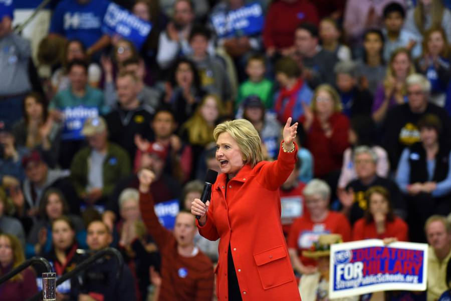 Democratic presidential candidate Hillary Clinton speaks at a rally at Washington High School in Cedar Rapids, Iowa, the United States