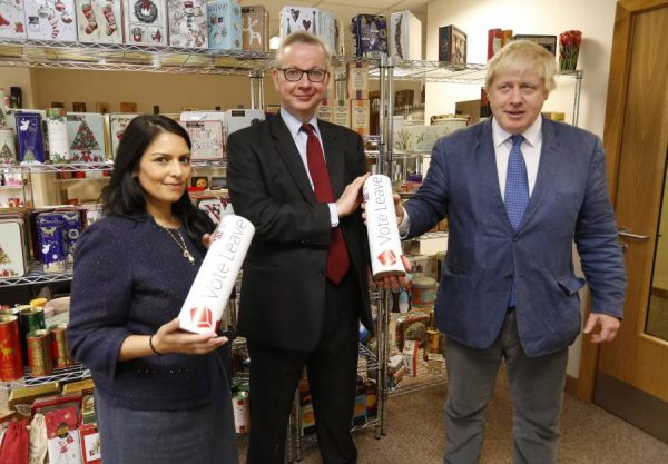 Brexit campaigners Priti Patel, Michael Gove and Boris Johnson pushing the campaign at East London