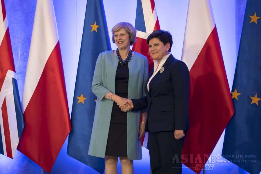 Prime Minister Theresa May with Polish counterpart Beata Szydlo