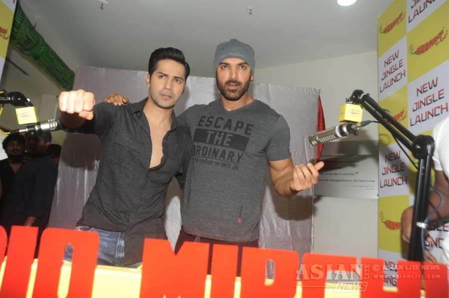 Actors John Abraham and Varun Dhawan during the promotion of film Dishoom at Radio Mirchi studio in Mumbai