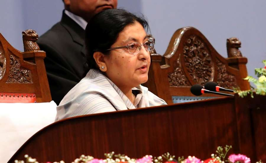 Nepalese President Bidya Devi Bhandari presents the Nepalese government's annual policy and programme for the next fiscal year 2016/17 at parliament in Kathmandu, Nepal, May 8, 2016. The document pointed out implementation of the Constitution and federalism, speed-up post-quake reconstructions efforts including the local polls to be held between mid-November and mid-December this year.