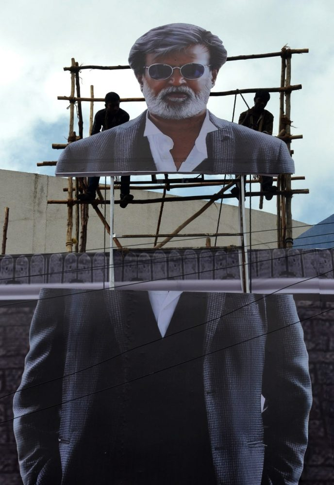 "Posters of Rajinikanth's ""Kabali"" being erected at Urvashi theatre"