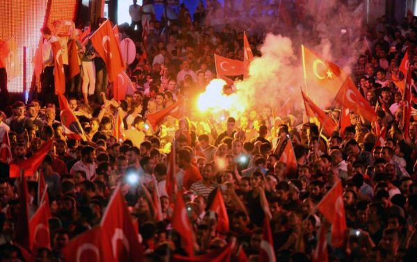 Supporters of Turkish President Erdogan celebrate in Istanbul