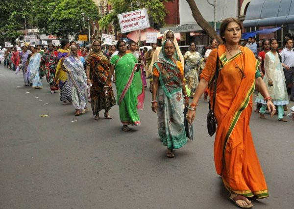 Actress-turned politician Roopa Ganguly participates in a protest rally against attack on minorities in Bangladesh; in Kolkata