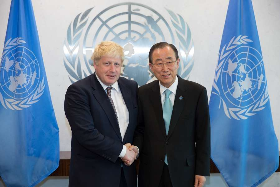 British Foreign Secretary Boris Johnson(L) meets with United Nations Secretary-General Ban Ki-moon at the UN headquarters in New York