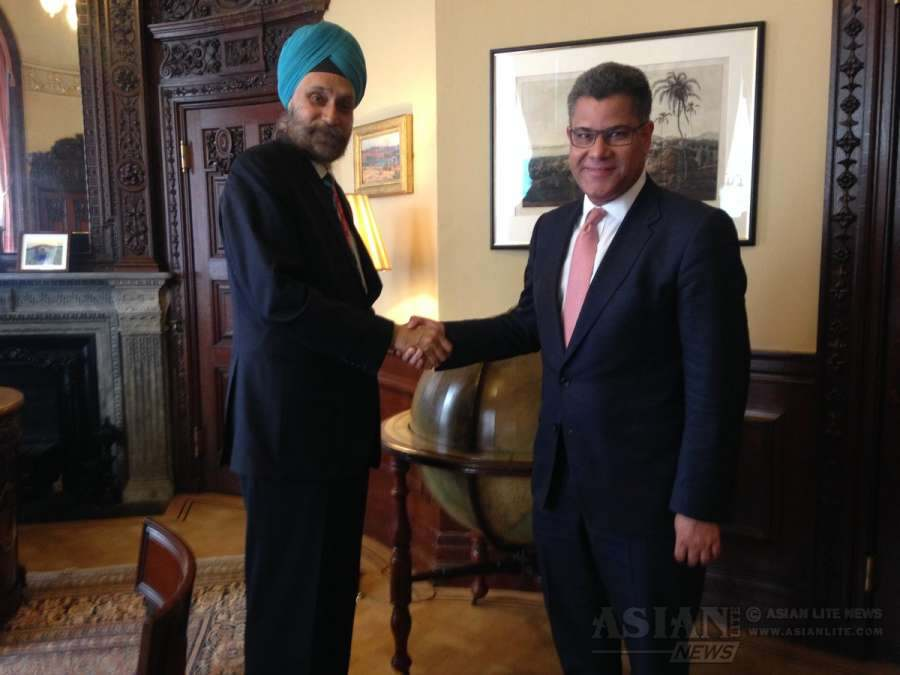Foreign Office Minister Alok Sharma with Indian High Commissioner Navtej Singh Sarna