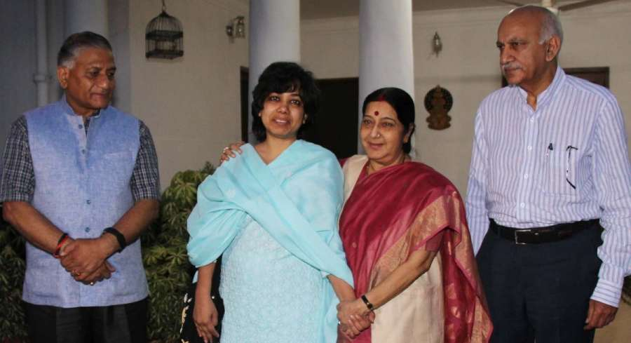 India's Foreign Minister meets rescued Indian aid worker in Afghanistan Judith D'Souza as Ministers of State MJ Akbar and VK Singh look on