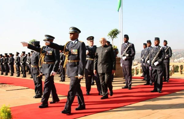 Modi on a ceremonial parade during his Africa trip