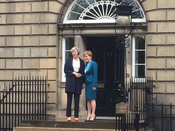 British Prime Minister Theresa May with Scotland First Minister Nicola Sturgeon