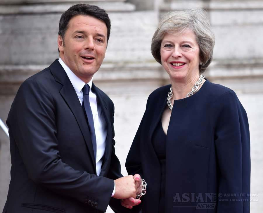 British Prime Minister Theresa May with  Italian Prime Minister Matteo Renzi in Rome
