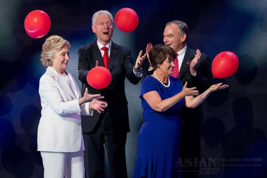 "U.S. Democratic presidential nominee Hillary Clinton(L front), her husband and former U.S. President Bill Clinton (L back), Democratic vice presidential nominee Tim Kaine (R back) and his wife Anne Holton (R front) take the stage on the last day of the 2016 U.S. Democratic National Convention at Wells Fargo Center, Philadelphia, Pennsylvania, the United States on July 28, 2016. Former U.S. Secretary of State Hillary Clinton on Thursday formally accepted the Democratic Party's nomination for president and pledged more economic opportunities for Americans and ""steady leadership""."