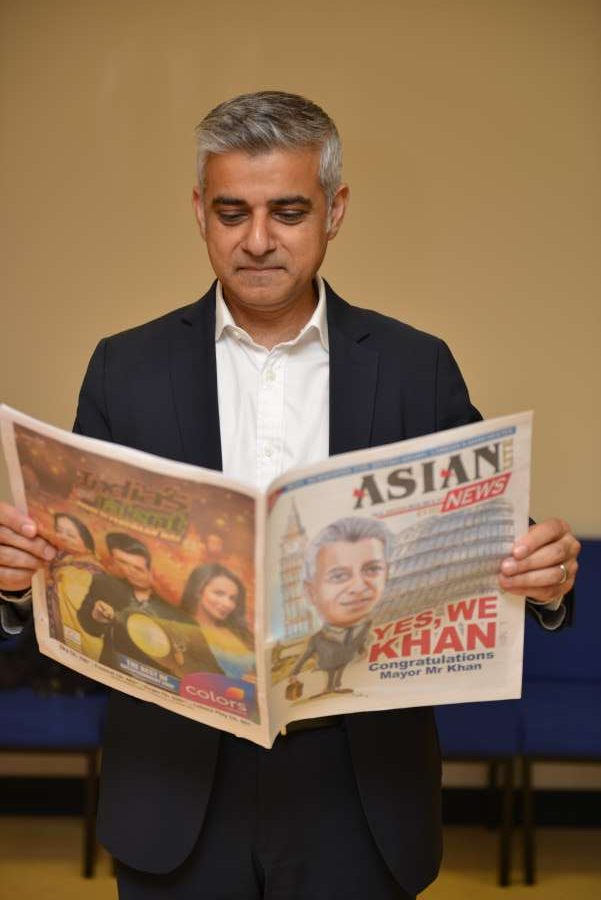 Sadiq Khan reads Asian Lite which features him on cover