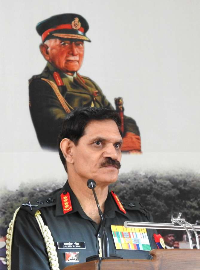 Army Chief General Dalbir Singh addresses during the veterans rally at Madikeri in Kodagu district of Karnataka