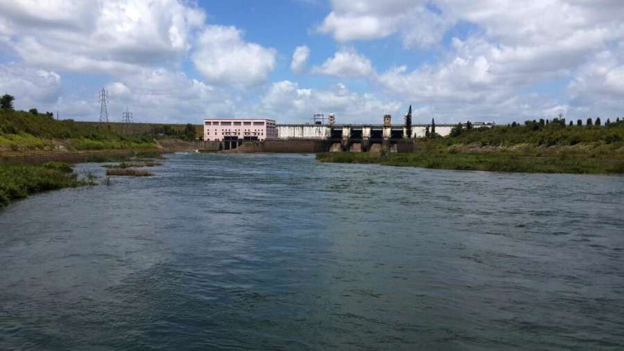 A view of Krishna Raja Sagara Dam built on Cauvery river in Mysuru
