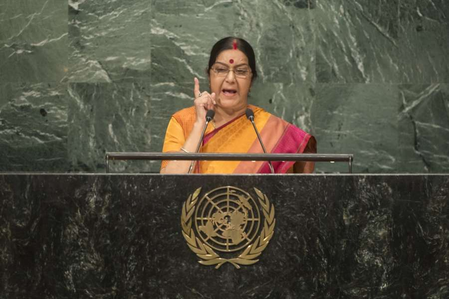 India's External Affairs Minister Sushma Swaraj addresses at United Nations General Assembly. She called for isolating nations that sponsor terror
