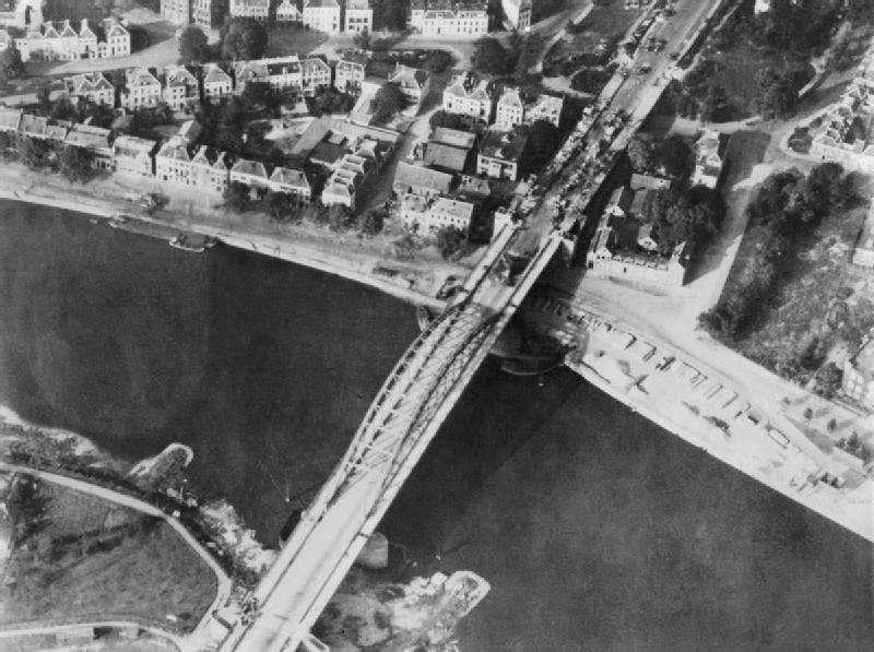 An aerial photo of-the-Arnhem-bridge
