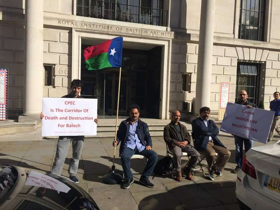 Baloch nationalists launch a week long sit-in protest outside Chinese embassy in London