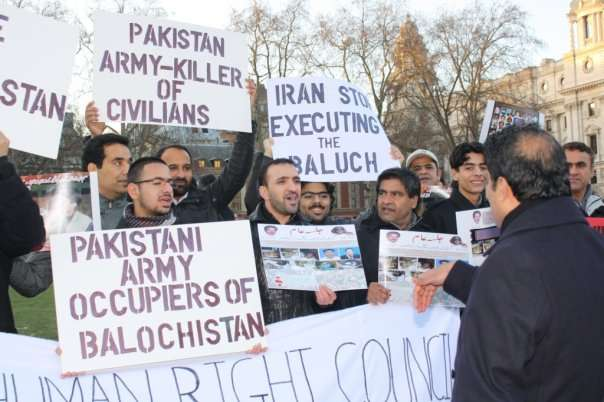 Baloch and Sindhi activists protest in London against Paksitan army's human rights violations in Balochistan