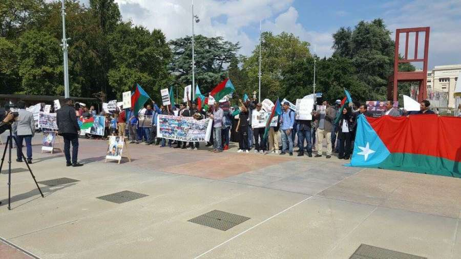 Baloch Revelutionary Party (BRP) workers protest outside UN office in Geneva seeking UN to take action against Pakistani atrocities in Balochistan