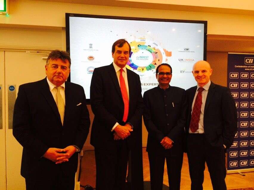 Madhya Pradesh Chief Minister Shivraj Singh Chauhan with business leaders in London