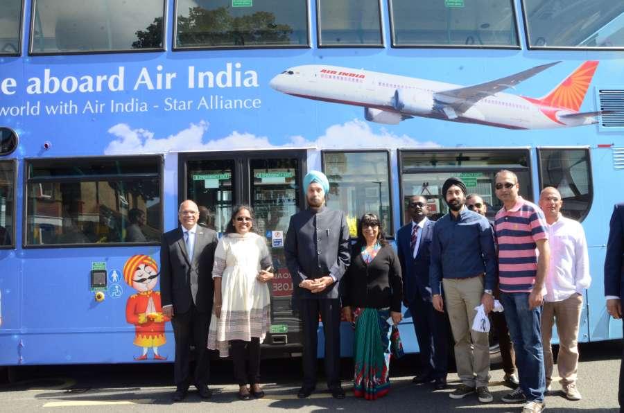 High Commissioner Navtej Singh Sarna, Minister (Co-ordination) Mr AS Rajan, Air India Regional Manager Tara Naidu and others at the inauguration