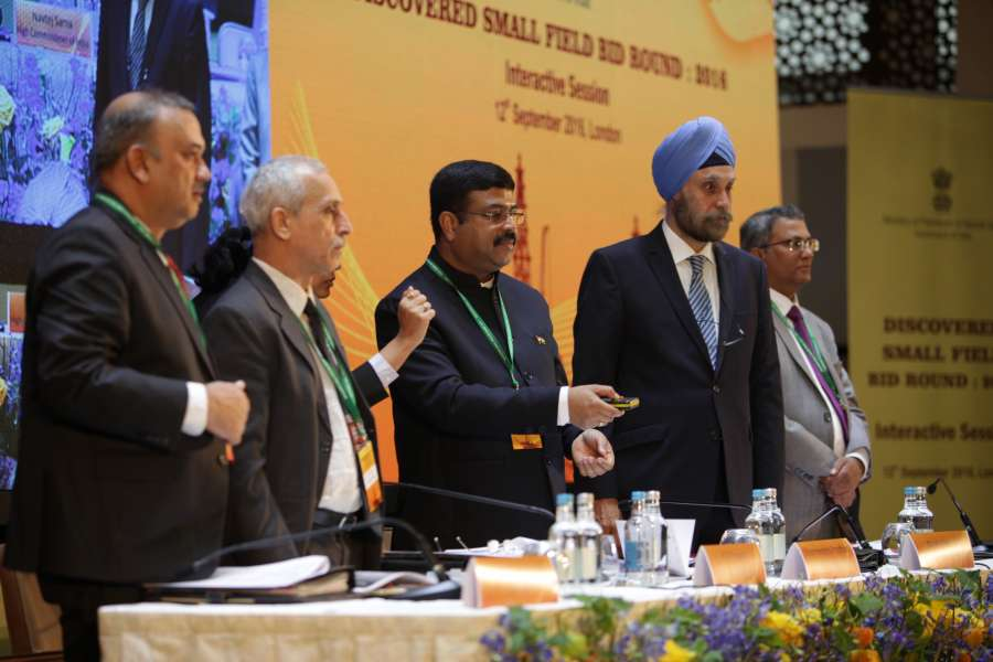 Petroleum Minister Dharmendra Pradhan with Indian High Commissioner Navtej Singh Sarna and others in London