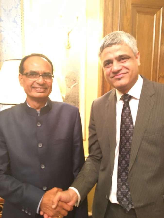 Madhya Pradesh Chief Minister Shivraj Singh Chauhan with Manish Tiwari, MD of media agency Here & Now 365 Ltd