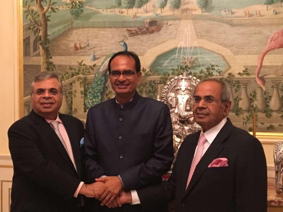 Madhya Pradesh Chief Minister Shivraj Singh Chauhan with Hinduja brothers