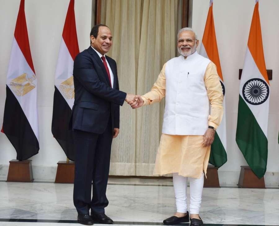 Indian Prime Minister Modi with Egypt President Abdel Fattah Al-Sisi