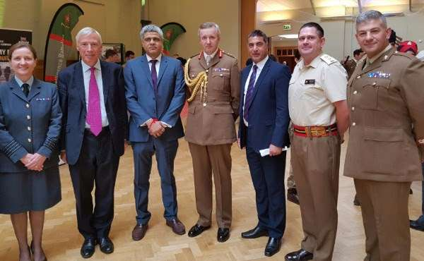 The Earl Howe and Minister of State in the House of Lords and Deputy Leader of the House of Lords (2nd left), Major General Benjamin Bathurst CBE (4th left) and Kash Singh, Chief Executive and Founder of One Britain One Nation (5th left) and Managing Director of Here & Now 365 Manish Tiwari (3rd left)