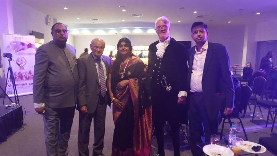 (From L to R) Paul Sabapathy CBE, Professor A R Gatrad OBE, Dr Chithra Ramakrishnan FRSA, High Sheriff of West Midlands Dr Keith Bradshaw DL, Mr Ramakrishnan Subramanian