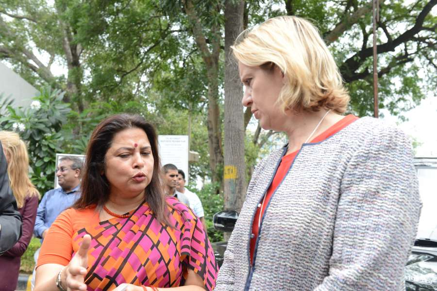 Home Secretary Amber Rudd during a trip to India (File)