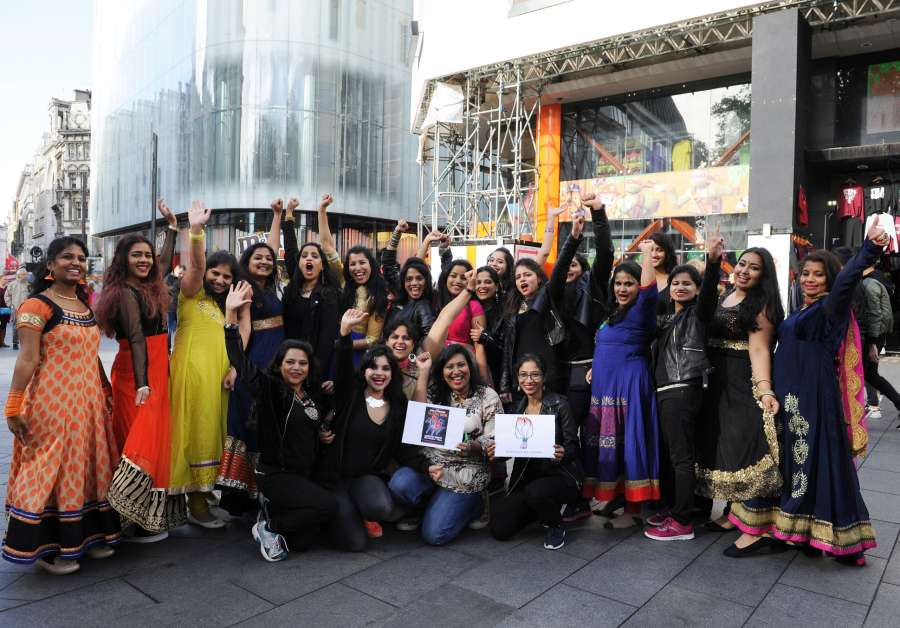 Members of Indian Women in London (IWIL-UK) pay tribute to Madhuri Dixit with a flash mob at Leicester Square