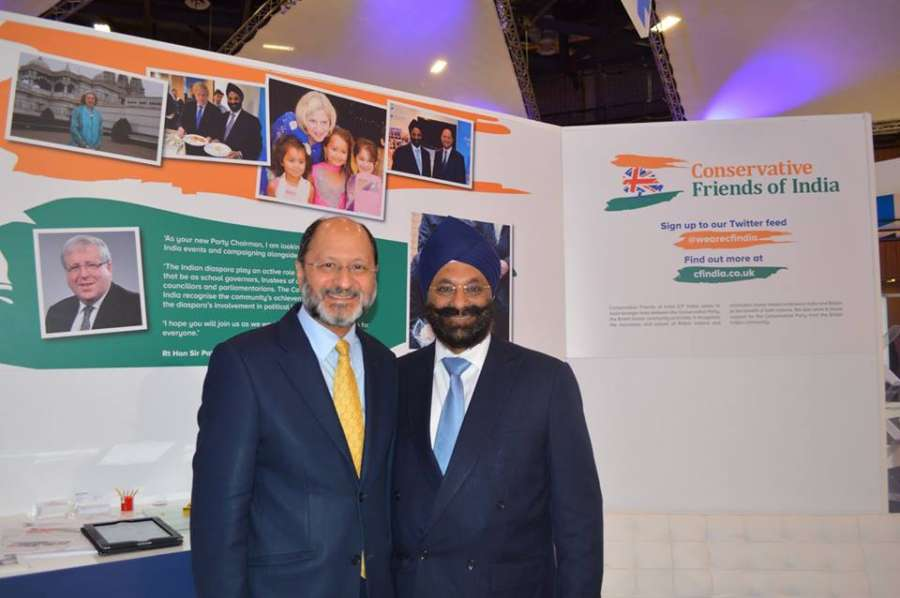 Mr Ranjit Baxi and Shailesh Vara, co-chairs of the Conservative Friends of India, addressing the reception