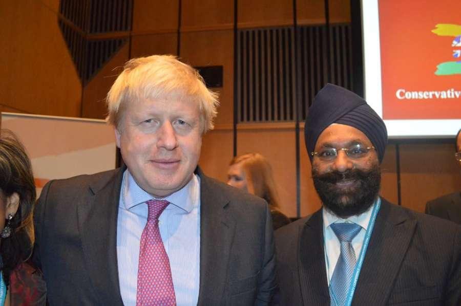 Ranjit Baxi with Boris Johnson at the reception