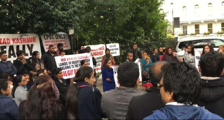 Peoples Reconciliation Committee for Gilgit Baltistan & Jammu Kashmir organised a protest outside the Pakistani High Commission in London to demand the political and constitutional rights for the people of Azad Jammu and Kashmir and Gilgit Baltistan