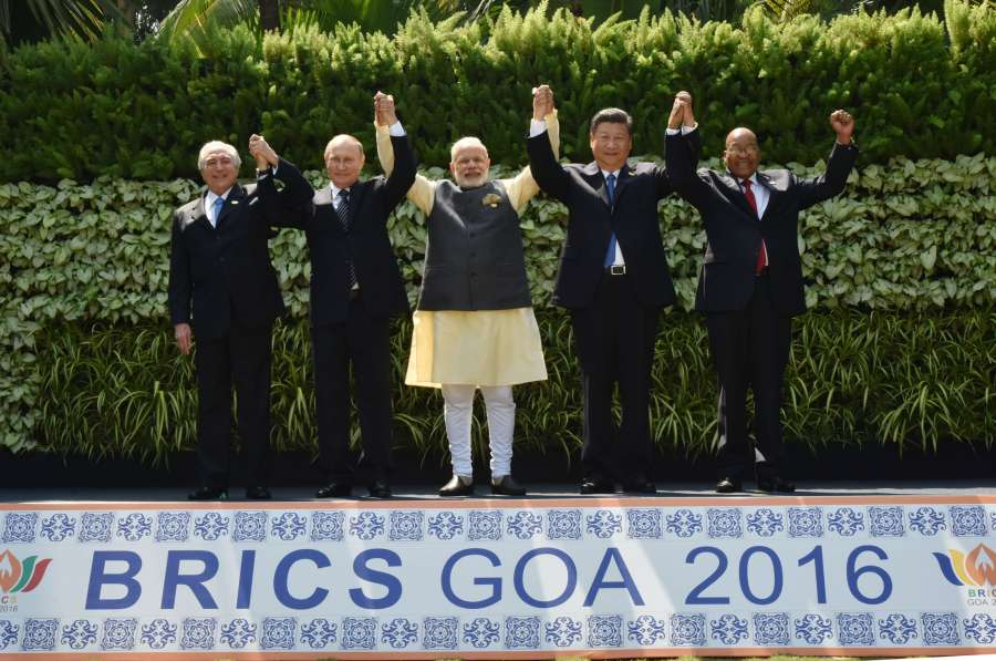 Prime Minister Narendra Modi, Russian President Vladimir Putin, Chinese President Xi Jinping, South African President Jacob Zuma and Brazilian President Michel Temer