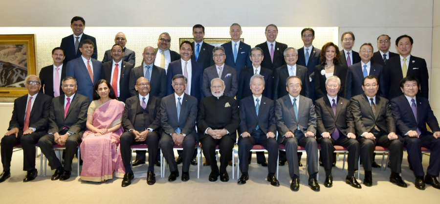 Prime Minister Narendra Modi in a group photograph with the CEOs of the India-Japan Business Leaders' Forum, in Tokyo, Japan