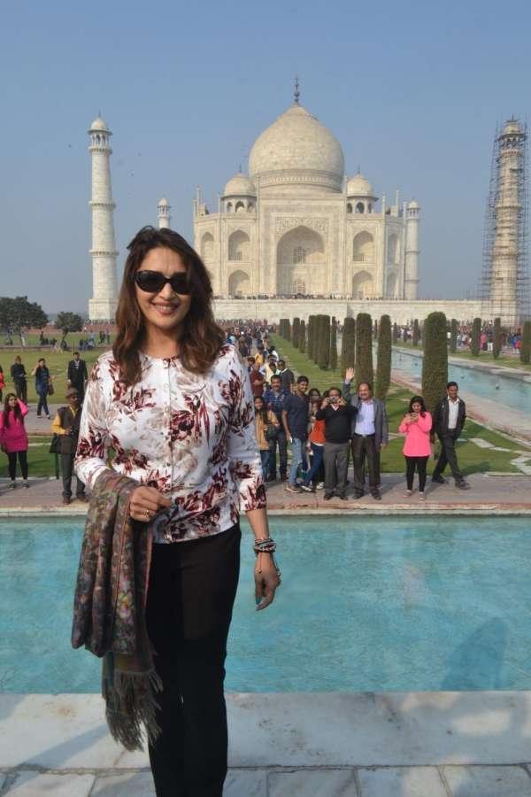 Actress Madhuri Dixit visits Taj Mahal in Agra on Dec 25, 2016. (Photo: Pawan Sharma/IANS)