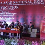 Hyderabad: Actor Shah Rukh Khan during a programme at Maulana Azad National Urdu University (MANUU) where he was conferred honorary doctorate for his extraordinary contribution in promotion of the Urdu language and culture through his films in Hyderabad on Dec 26, 2016. (Photo: IANS)