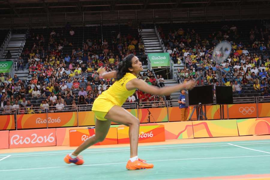 Rio de Janeiro: Indian shuttler PV Sindhu in action during her women's singles badminton match against China's Wang Yihan at the Rio Olympics in Rio de Janeiro on Aug. 17, 2016. (Photo: Seshadri Sukumar/IANS)