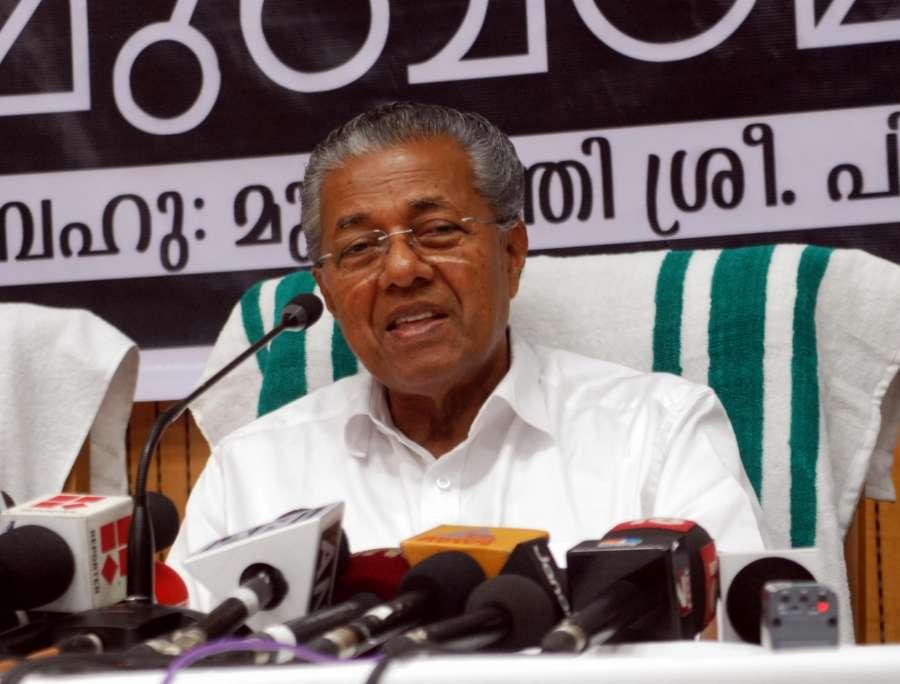 New Delhi: Kerala Chief Minister Pinarayi Vijayan addresses a press conference, in New Delhi on June 18, 2016. (Photo: IANS)
