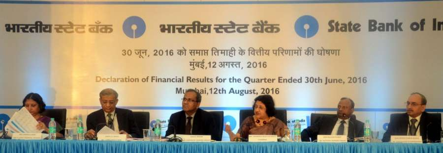 Mumbai: SBI chairman Arundhati Bhattacharya announces quarterly financial report of the the bank in Mumbai, on Aug 12, 2016. (Photo: IANS)
